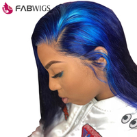 Fabwigs 250% Density Short Human Hair Wigs with Baby Hair Pre Plucked Dark Blue BoB Wig Lace Front Wigs Brazilian Remy Hair