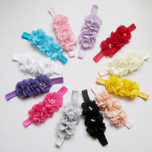 3 Pcs/lot Kids Hair Accessories Jeaely Rhinestone Ribbon Pearl Diamond Headwear Girls Hairbands Baby Sewing Flowers Headband