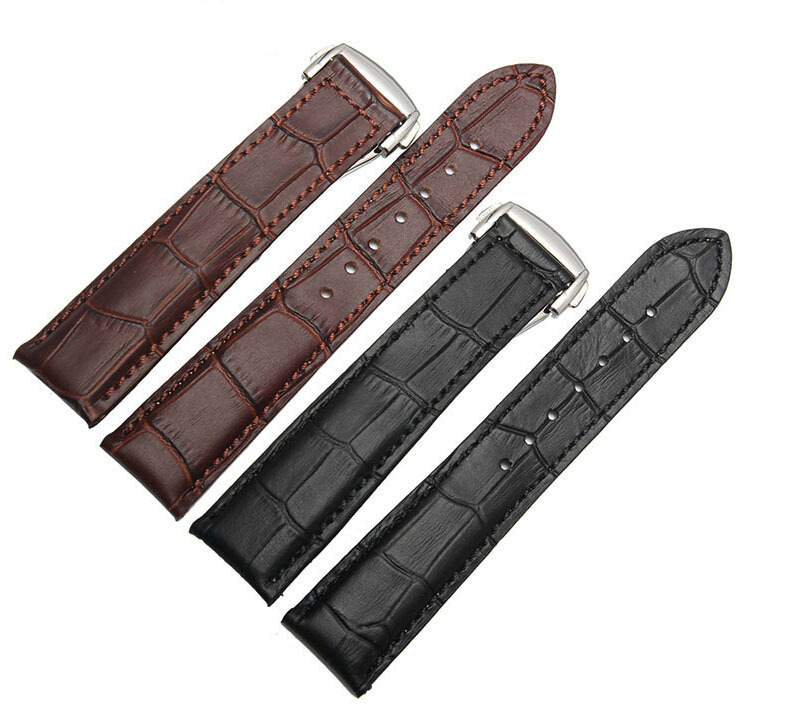 19mm 20mm 22mm Crocodile Grain Genuine Leather Watch band Strap Bracelets Butterfly Stainless Steel Clasp Free shipping