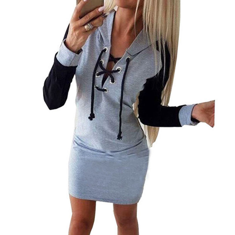 Spring Kwaii Hoodies Dress Casual Party Women V-Neck Lace Up Dress Femme Robe Straight Color Patchwork Plus Size Mujer
