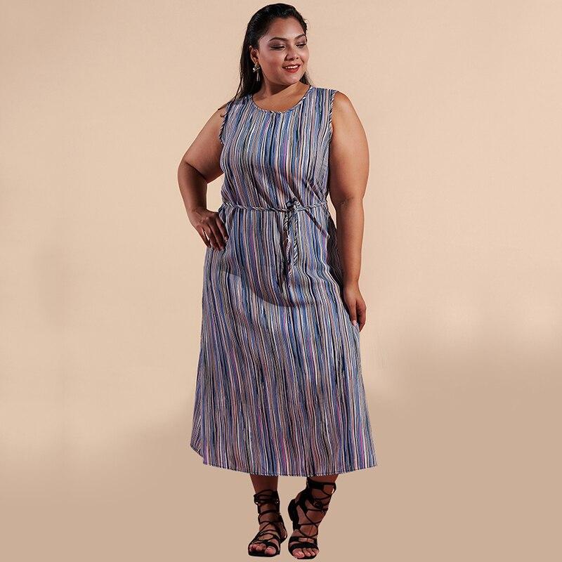 Vintage Women Striped Printed Long Dress Round Neck  Sleeveless Waist Belt Slim Casual Loose Maxi Dresses Plus Size 3XL Vestidos