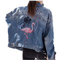 2016 autumn loose women's embroidery denim jacket female women coat