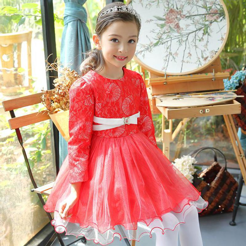 2017 Elegant Teenage Girls Party Dress For Kids Girls Dresses Formal Clothes Wedding Children Clothing Tutu Princess Mini Dress