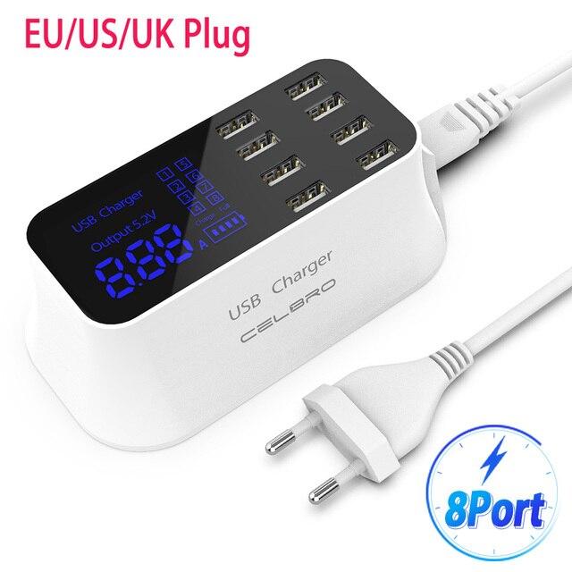 """8 יציאות רב USB מטען מהיר רכזת תשלום 3.0 Usb מטען קיר עבור טלפון סלולרי חכם מהיר טעינת Dock תחנה האיחוד האירופי ארה""""ב Plug בריטניה"""
