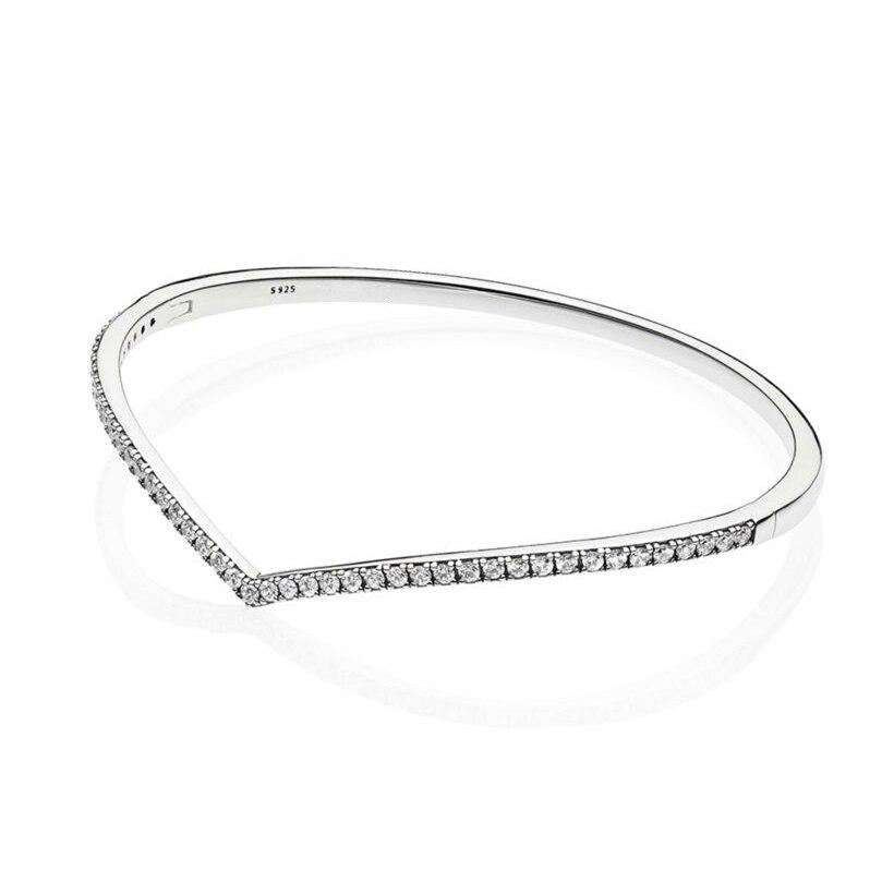 2019 Bracelet à souhait chatoyant printemps convient aux breloques Pandora argent 925 Original Wishbone Bracelets Bracelets femmes bijoux.