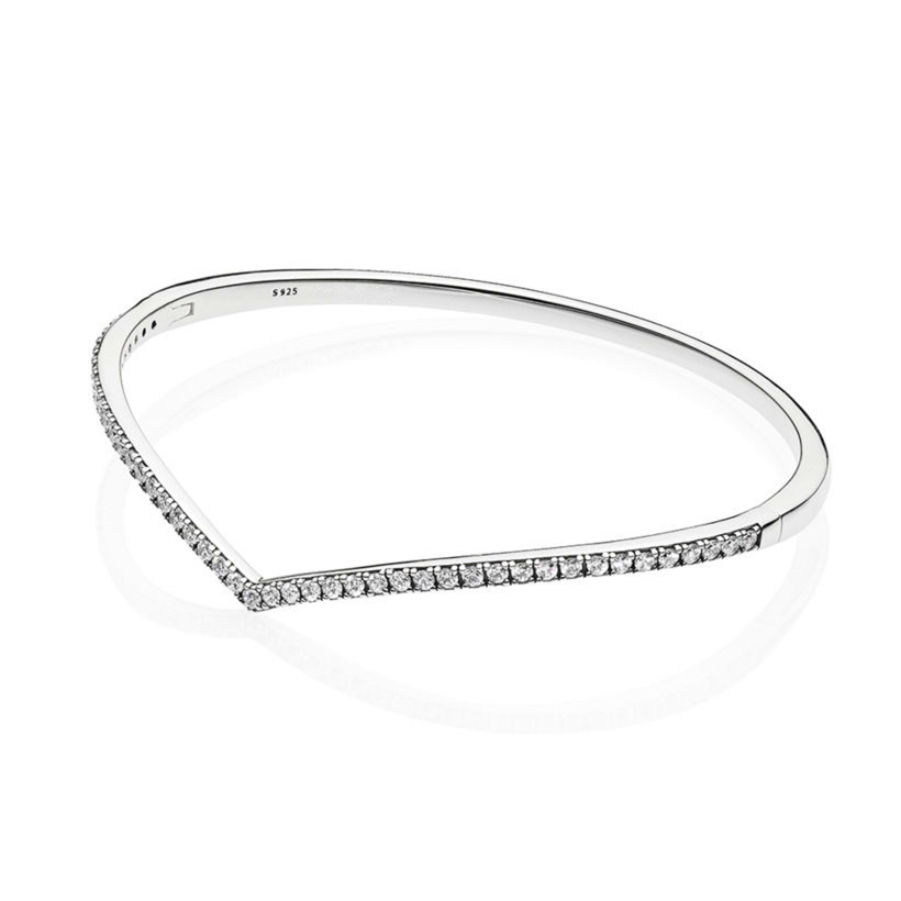 2019 Spring Shimmering Wish Bangle Bracelet fits Pandora Charms Silver 925 Original Wishbone Bracelets Bangles Women Jewelry.