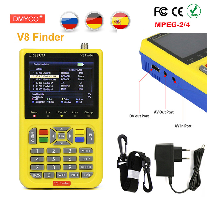 V8 Finder 3 5 LCD Display DVB S2 FTA digital satellite meter satellite finder MPEG 2