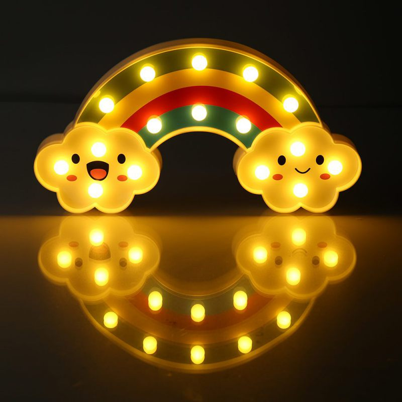 Children Toy Small Gift Batteries Powered Baby Bedside Led Lamp Rainbow Colorful Atmosphere Decorative Night Light