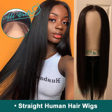 Brazilian Straight Lace Front Human Hair Wigs With Pre Plucked Hairline 150% 180% Density Ali Grace Straight Lace Front Wig(China)