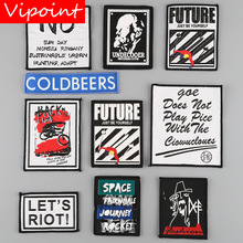 VIPOINT embroidery printed warning patches letter alphabet badges applique for clothing YM-14