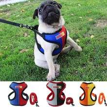 Fashion Pet Dog Harness Vest with Leash Set Colorful Nylon Mesh Cat For Small Medium Puppy Chihuahua Lead Walki
