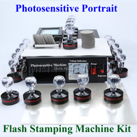 Photosensitive Portrait Flash Stamp Machine Kit Selfinking Stamping Making Seal 10Pcs Holder Film Pad WITHOUT Ink
