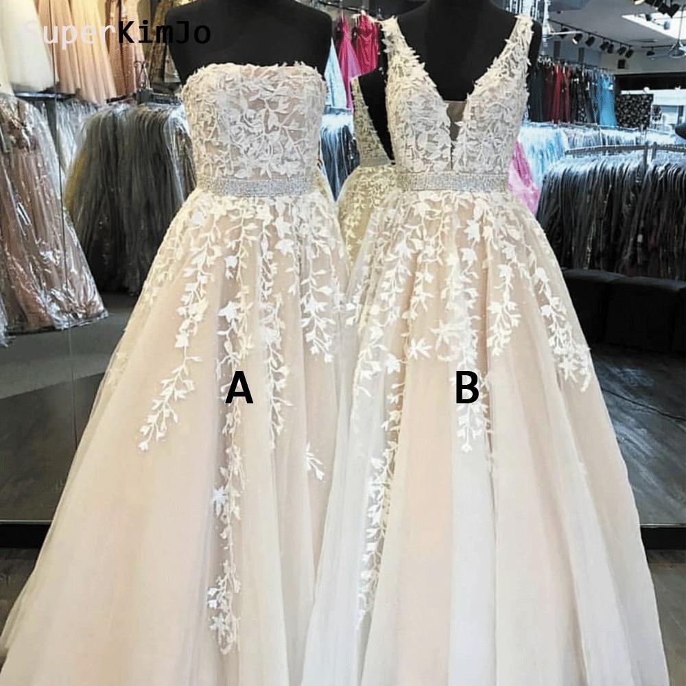 SuperKimJo Vestidos De Festa Lace Applique   Prom     Dresses   2019 Beaded Champagne A Line Elegant Mismatched   Prom   Gown