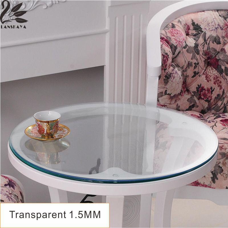 Lanskaya New Modern Wedding Oilproof Round Tablecloth Pvc Transparent Table  Cover Soft Glass Thickness 1.5 Mm