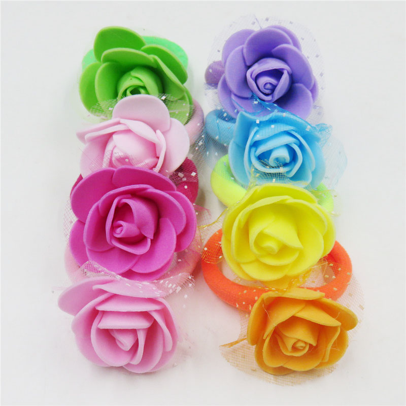10PCS/LOT Pretty Rose Net Flower Elastic Hair Bands Toys For Girls Handmade  Hair Tie Scrunchy Kids Hair Accessories For Women