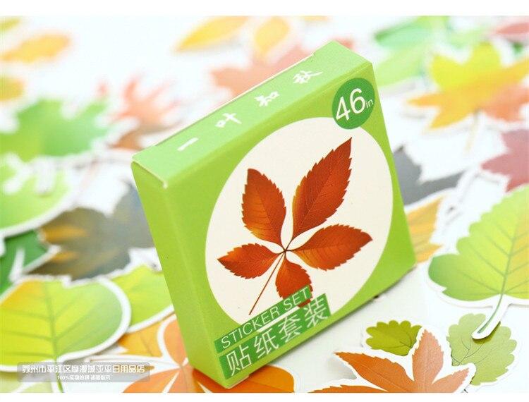 46 шт./упак. листья осень этикетка наклейки декоративные канцелярские наклейки в виде кленового листа, декоративные наклейки