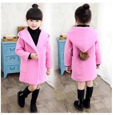 Envío de la manera linda ropa infantil para niñas abrigo de lana niño abrigo chaqueta y largas secciones