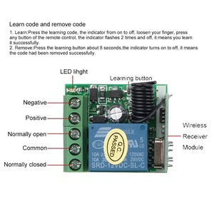Image 5 - Kebidu 433 315mhz のワイヤレスリモートコントロールスイッチ DC 12V 1CH リレー受信機モジュール RF トランスミッタ 433 Mhz のリモートコントロール