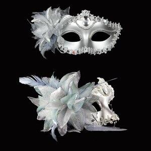 Image 2 - Sexy Diamond Venetian Mask Venice Feather Flower Wedding Carnival Party Performance Purple Costume Sex Lady Mask Masquerade