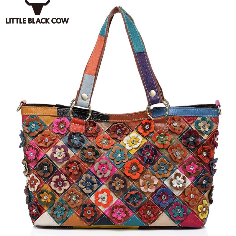 Diamonds Cow Leather Colorful Shoulder Bag Women High Quality Patchwork Messenger Bag Fashion Flower Leather Tote Bags FemaleDiamonds Cow Leather Colorful Shoulder Bag Women High Quality Patchwork Messenger Bag Fashion Flower Leather Tote Bags Female