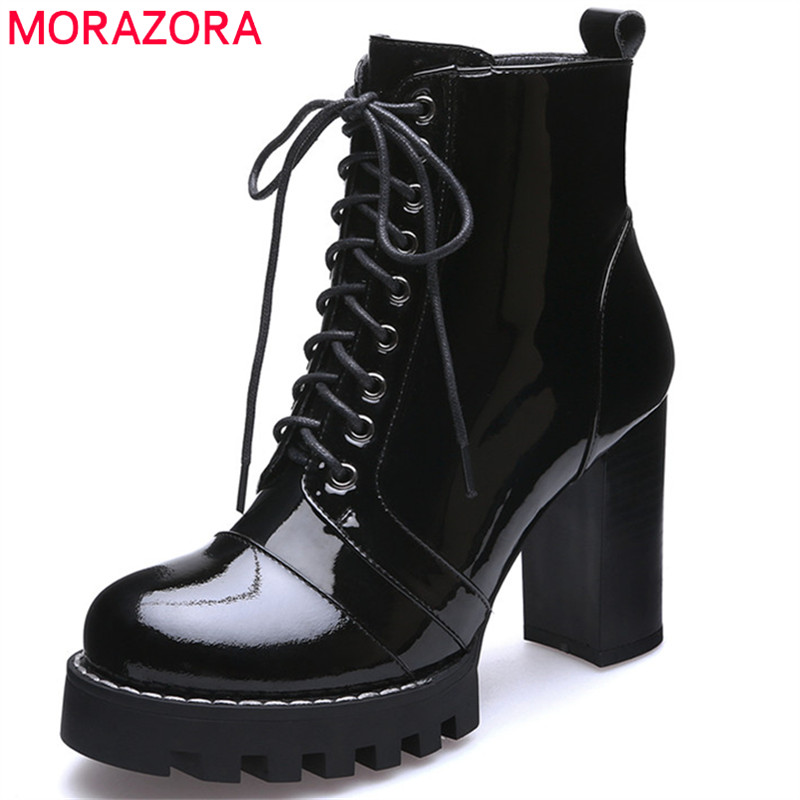 Женские ботильоны из натуральной кожи MORAZORA, черные ботильоны на платформе и высоком каблуке, со шнуровкой, новинка осенне зимнего сезона 2019