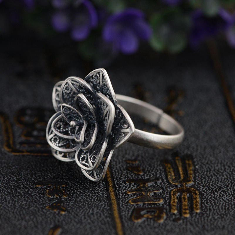 FNJ 925 Sterling Silver Ring Flower anillos Round S925 Thai Silver Rings for women Jewelry Male Men