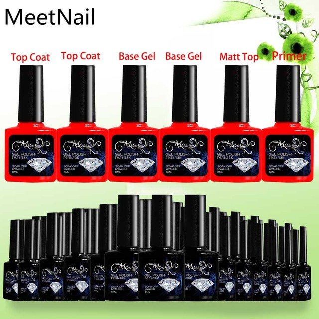 Meetnail 20pcs Lot Uv Led Professional Manicure Gel Nail Polish Set Top Coat Base