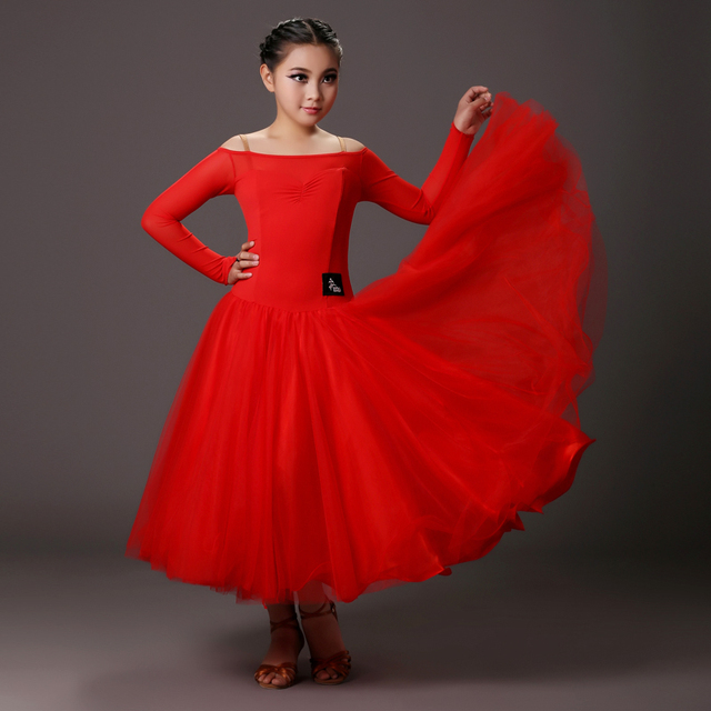 b0df231845d black red Children ballroom dress ballroom dance competition dresses dance  ballroom waltz dresses standard dance dress girl kids