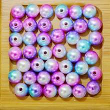 Rainbow Color 6# Round 4/6/8/10mm ABS Imitation Pearl Beads Hole Loose Beads Diy Jewelry Necklace Making for women 50-500PCS(China)