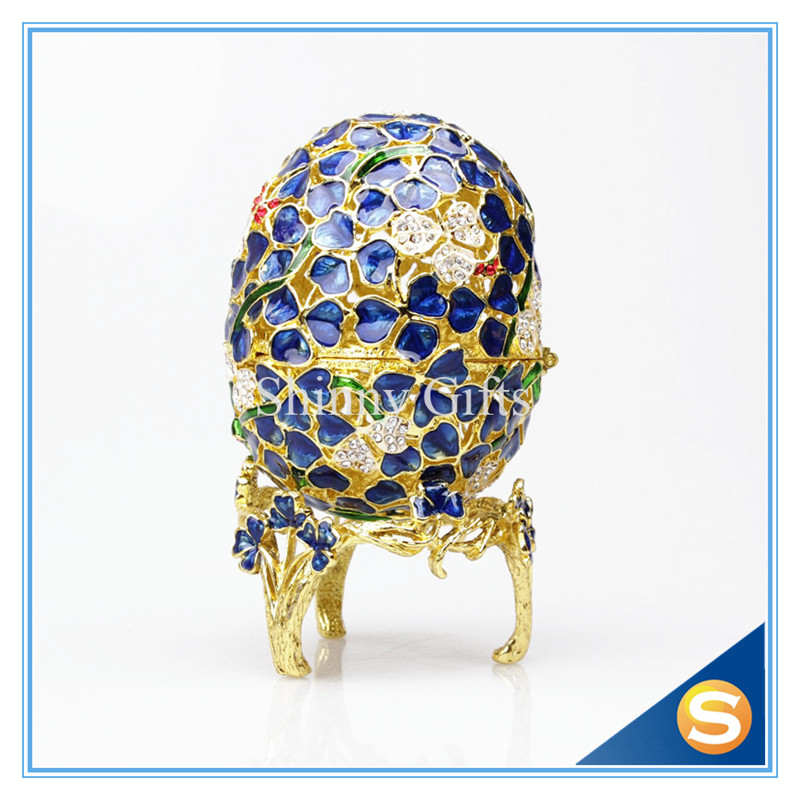 Easter Gifts Faberge Egg Box Czech Crystals, Silver With