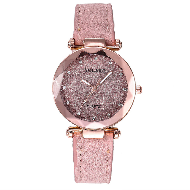 Fashion Crystal Women Watches Pink Female Starry Sky Dial Leather Quartz Wrist W