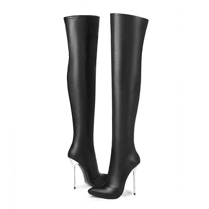 WETKISS Kış Seksi Ince Yüksek Topuklu Kadın Çizmeler Streç Pu Çizme Sivri Burun Diz kadın ayakkabısı Stiletto Topuklu Ayakkabı