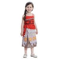 New Design Girls Moana Princess Cosplay Costume Dress Kids Halloween Outfit Movie Moana Costume Kid Party