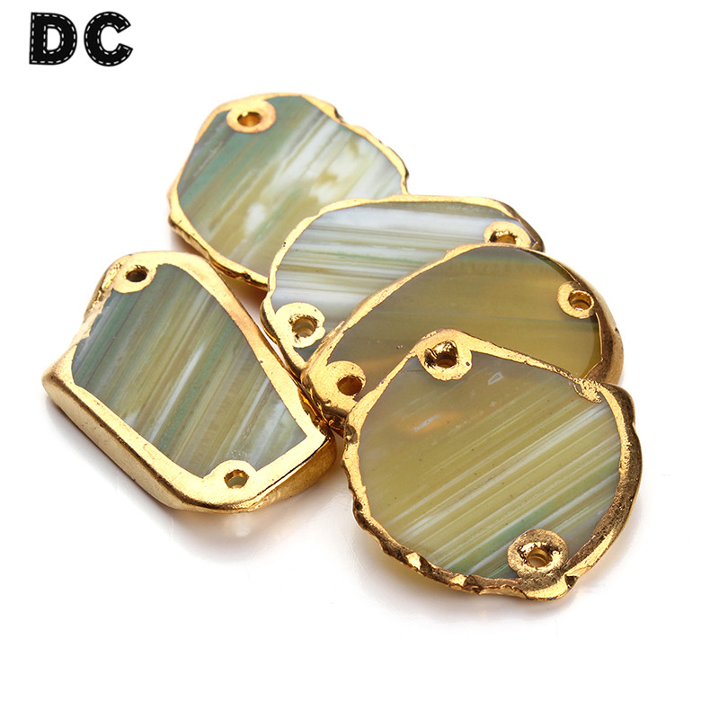 DC 1pc Gold Color Natural Druzy Stone Pendant Connectors Beads Irregual Geometric for Necklace Jewelry Making Findings
