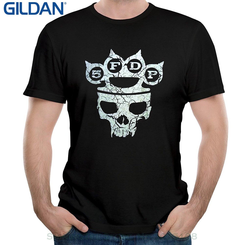 Desain t shirt unik - Gildan Pribadi T Shirt Kustom Kemeja Pukulan 5fdp Five Finger Death Skull Logo Unik Pria Lengan
