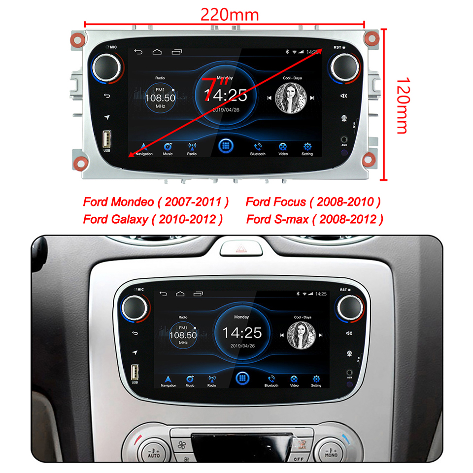 Android 8.1 voor Ford Focus Mondeo Galaxy S max Auto Stereo Autoradio 2GB DDR3 Octa Core 7 Scherm touch GPS Bluetooth Autoradio WiFi - 6
