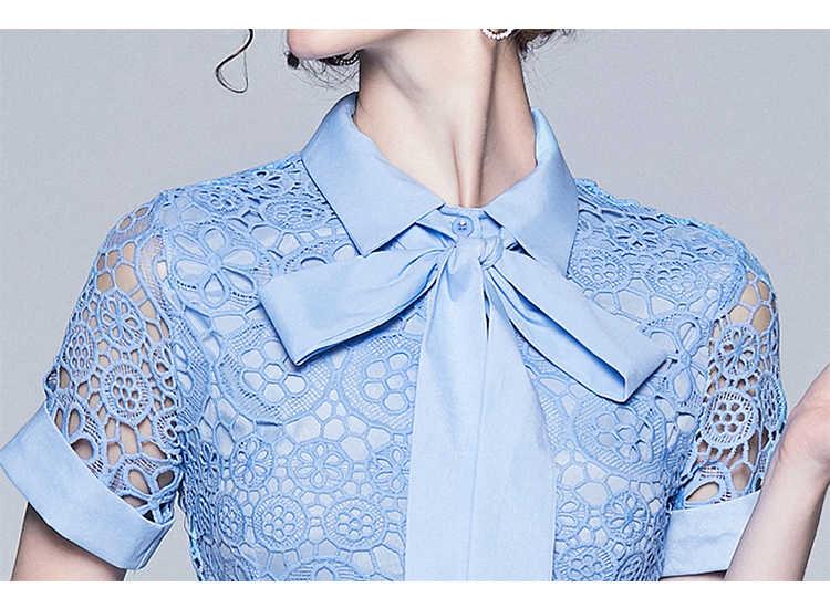 2019 nouveau été femmes évider dentelle Soluble dans l'eau robe élégante ceinture arc à manches courtes simple boutonnage robe de soirée Midi