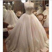 Vintage Sweetheart Sleeveless Beaded Pearls Sleeveless Bling Bling Princess Ball Gown Luxury Wedding Dresses