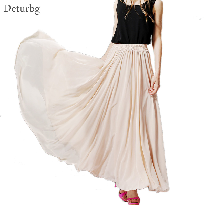 Womens BOHO Style 3 Layer Chiffon Long Skirt Female Elegant High Waist Non-transparent Beach Maxi Skirts Saia 2019 Spring SK121
