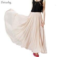 cf77f3a17f7e Womens BOHO Style 3 Layer Chiffon Long Skirt Female Elegant High Waist  Non-transparent Beach Maxi Skirts Saia 2019 Spring SK121