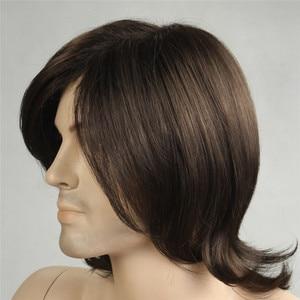Image 5 - MSIWIGS/короткие синтетические мужские парики, Термостойкое волокно, коричневый цвет, прямой мужской парик с бесплатной сеткой для волос