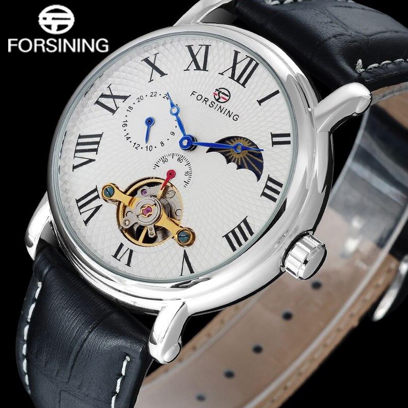 FORSINING Luxury men mechanical tourbillion watches genuine leather band fashion men s moon phase skeleton watches