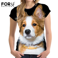 FORUDESIGNS Cute 3D Shepherd T Shirt For Woman Summer Casual Shirts Woman Tops Short Sleeved Feminine