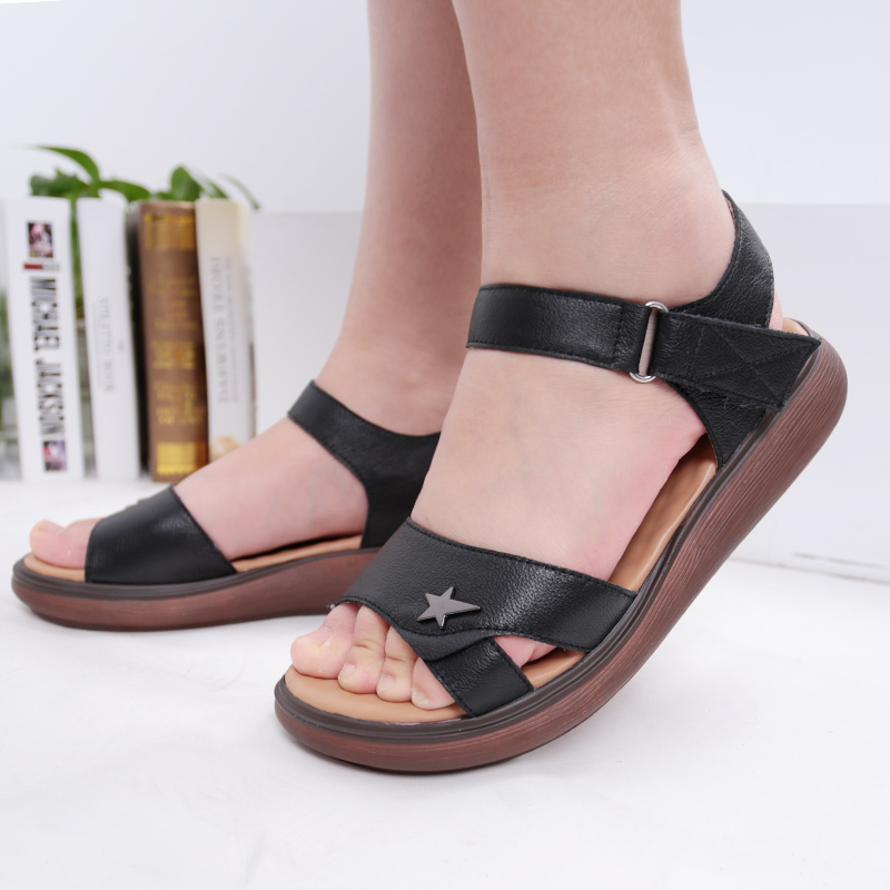 SHUANGFENG Footwear 2018 Summer Womens Sandals Shoes Woman Open Toe Genuine Leather Sandals Platform wedge sandles Ladies shoes