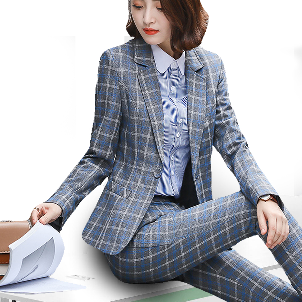 PEONFLY Classic Plaid Single Button Women Jacket Blazer Casual Notched Collar Slim Female Suits Coat Fashion Blazer Femme