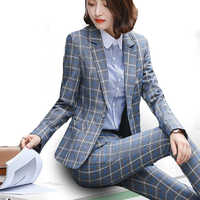 PEONFLY Classic Plaid Single Button Women Jacket Blazer Casual Notched Collar Slim Female Suits Coat Fashion Blazer Femme