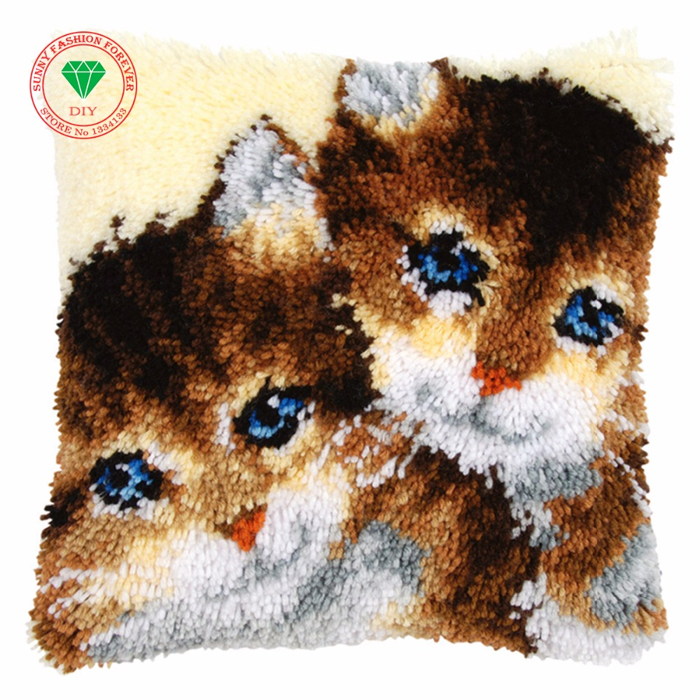 Home Decoration Cats Needlework Pillowcase Sets Embroidery Stitch Thread Latch Hook Rug Kits Crochet Hooks Cross-stitch Cushion