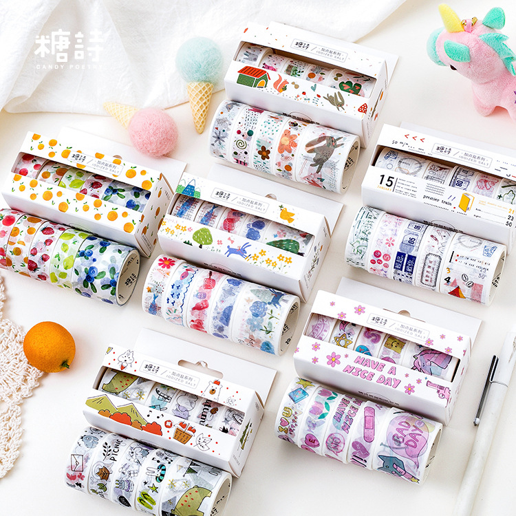 5pcs/pack Fun Forest Story Washi Tape Set Diy Decoration Masking Tape Label Sticker Stationery