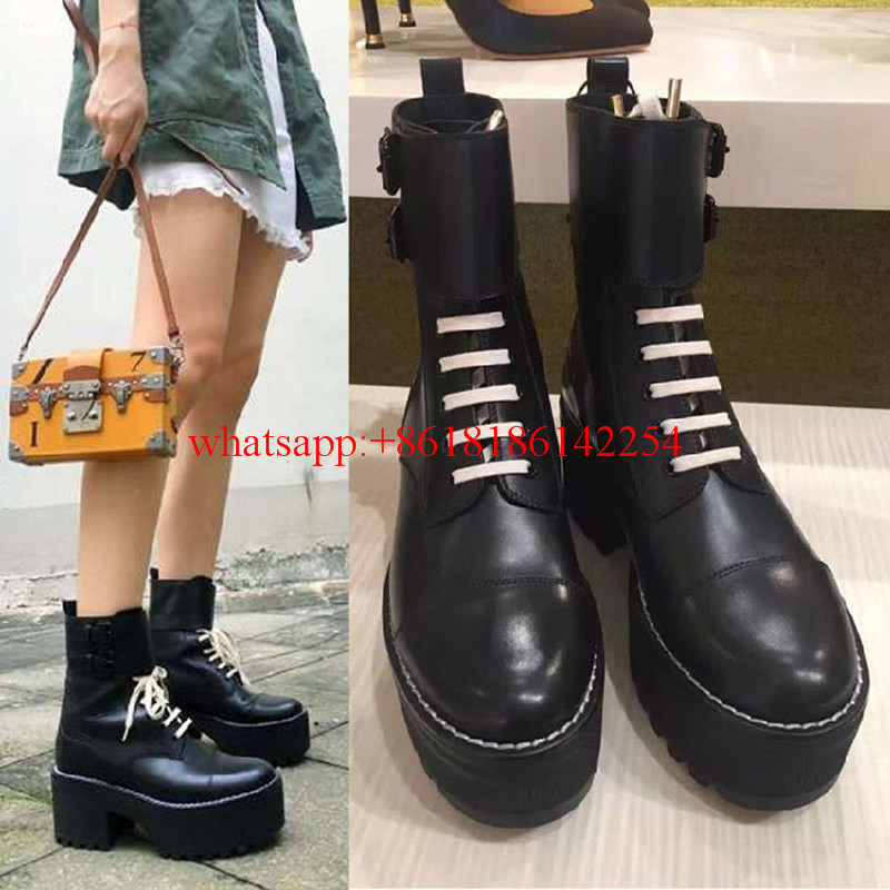 All Brand New European Custom Shoes Women Lace-up Leather Boots High-heeled Square Head Martin Boots High Platform Autumn/Winter