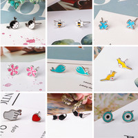 Cute Mini Animal Stud Earrings Cartoon Cat Rabbit Fish peach Giraffe shaped For Women Girls Ear Jewelry Party Gifts